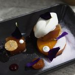 Десерт | DessertРачел от тиква с кокосов сладолед, туил от орехи и прах от виолеткиPumpkin Rachel with coconut ice cream, walnuts tuile and violet powder