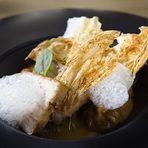 Основно | Main dishСвинско коремче с кисело зеле - пушено коремче, пелмени с кисело зелеPork belly with sour cabbage – smoked belly, dumplings with sour cabbage