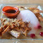 Основно ястиеТонкацу - свинско филе от пасищно отглеждани животни от чифлик Ливади, с.Дамаяница, запържено в японска галета, сервирано със сос ТонкацуДесертКабоча - тиква, печена с джинджър и портокалови кори, бишкота с тиквени семки, билков крем и японска мента Йокари