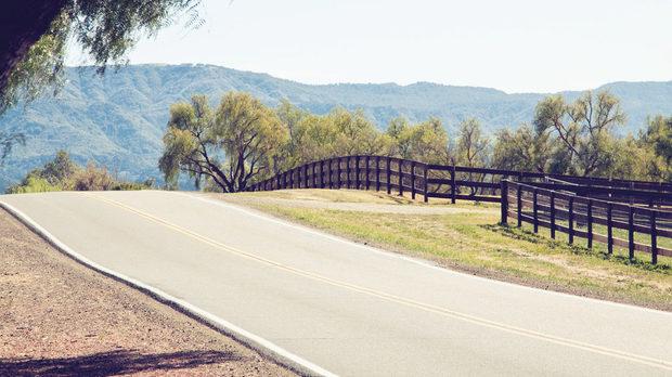 Основният път, около който са струпани винарните на Лос Оливос, се извива между хълмовете на Санта Рита