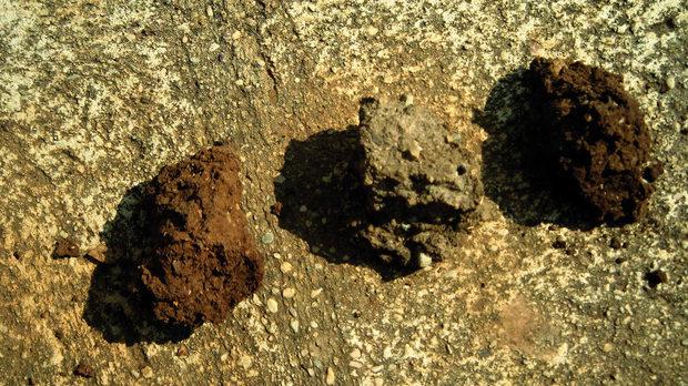 Нагледно помагало за термина тероар: почва от лозето Кло де Муш - първата собственост, закупена от Мезон Друен през 1918 г. През ХVІ век парцелът е предпочитано място за отглеждане на пчели, откъдето идва и името му.
