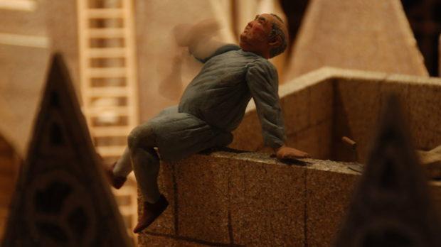 Леко пиян строител на катедрала - възпроизведените с кукли сцени от историята на Виена сега запълват неизползваните кабинки на Виенското колело в музея в основите на увеселителното съоръжение.